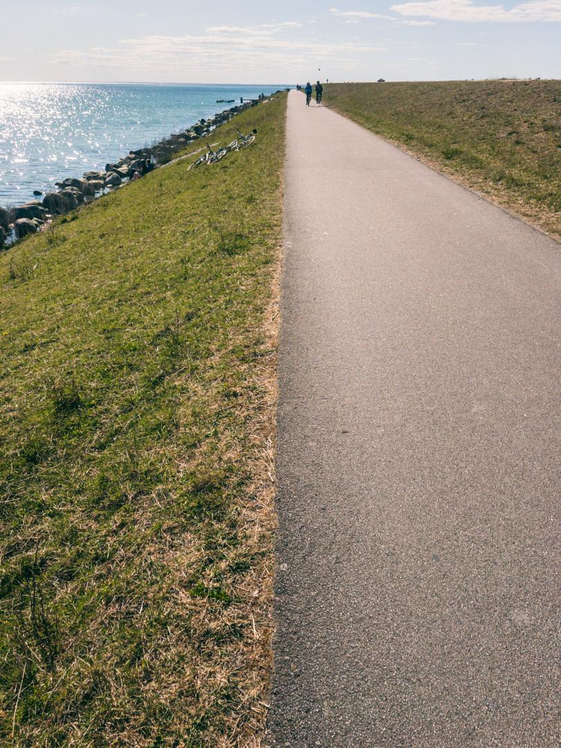 Den kombinerede gå- og cykelsti på Amagers sydvestlige del